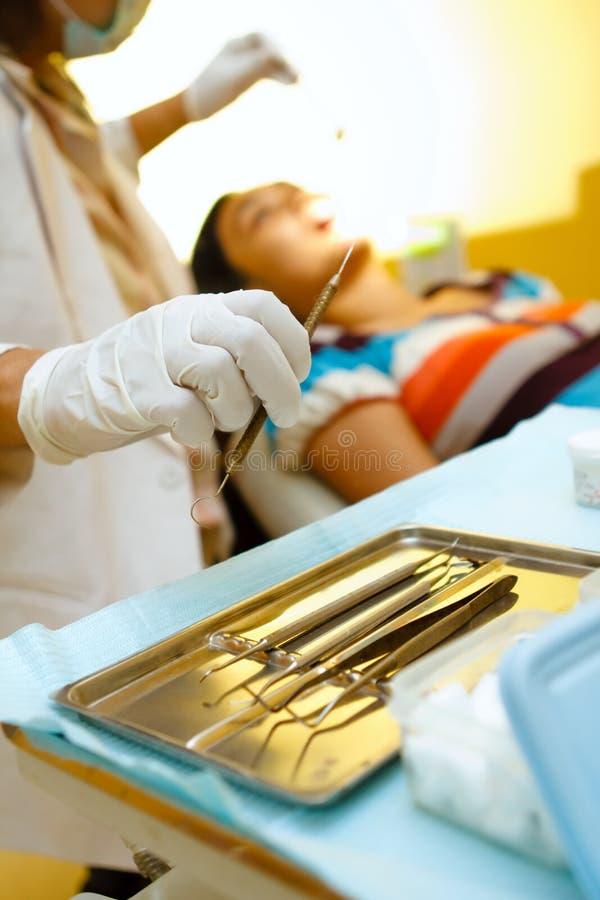 Dentist tools on hand