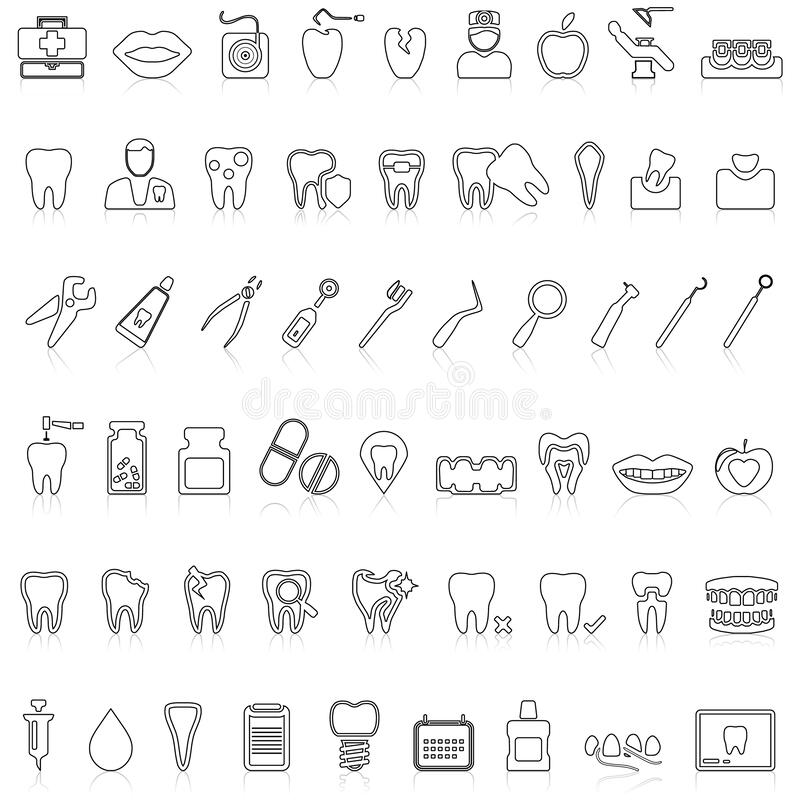 Stencil Dentist Tools On A Black Background Royalty Free Cliparts, Vectors,  And Stock Illustration. Image 54787462.