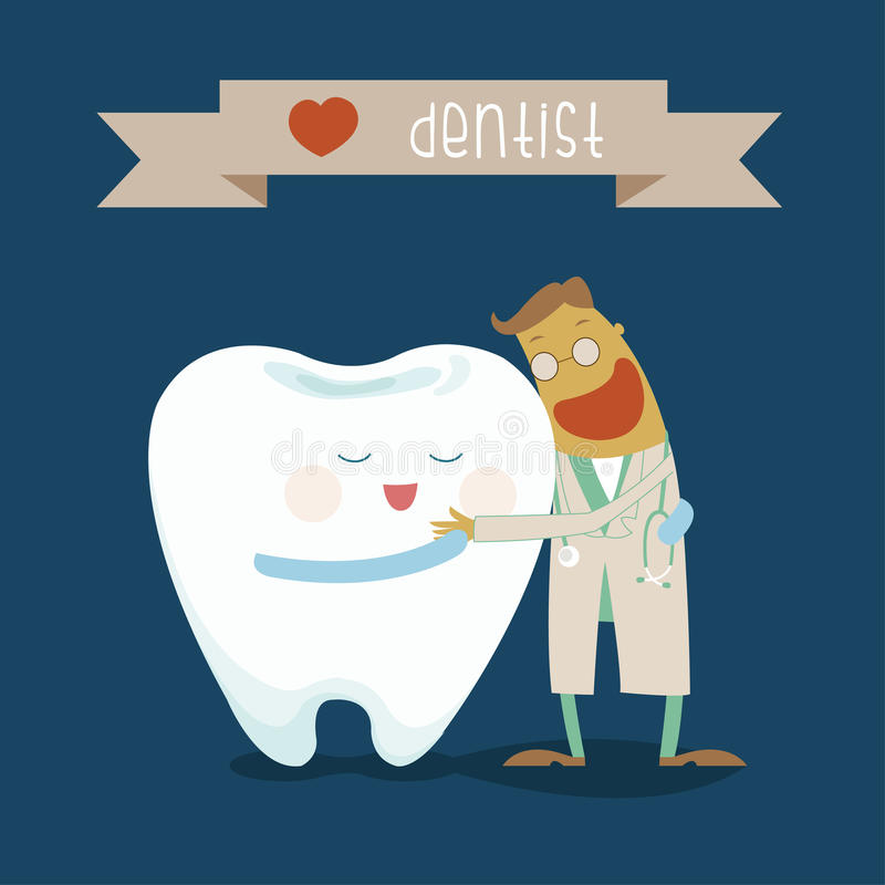 Dentist and tooth hug each other stock illustration
