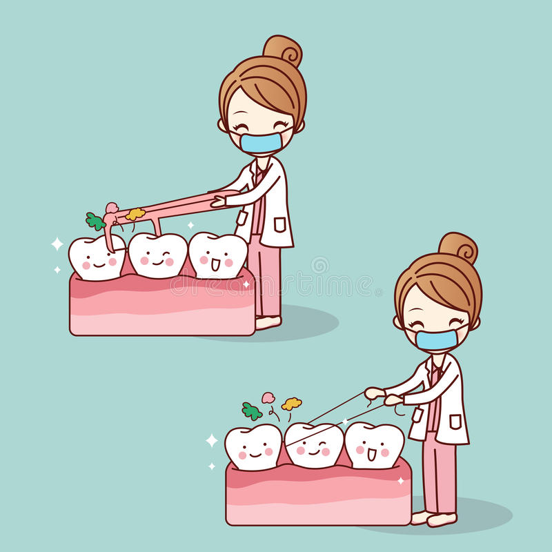 Dentist use floss clean teeth. Cartoon doctor or dentist use floss clean teeth, great for dental care concept royalty free illustration
