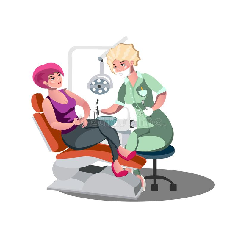 Dentist and woman in dentist chair. vector illustration