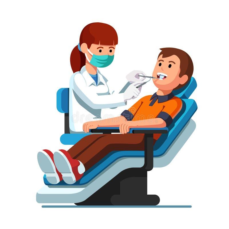 Dentist woman examining patient man teeth, mouth vector illustration