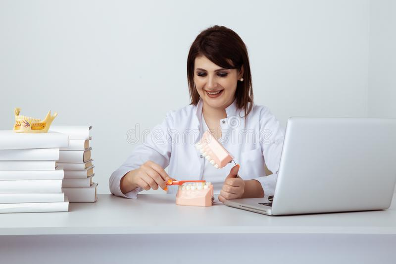 Dentist woman working sitting in office isolated with dental staff. royalty free stock image
