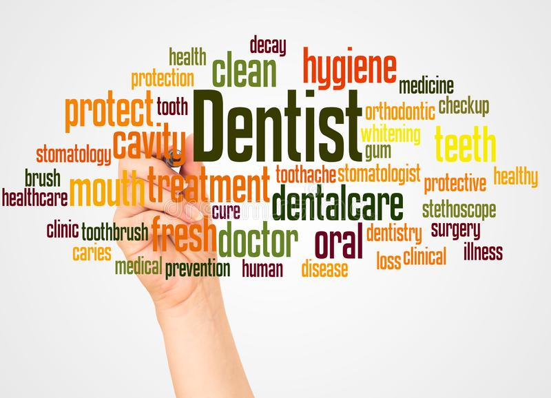 Dentist word cloud and hand with marker concept. On white background stock photo