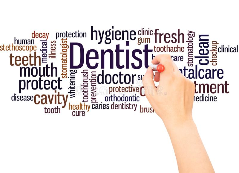 Dentist word cloud hand writing concept. On white background royalty free stock photos