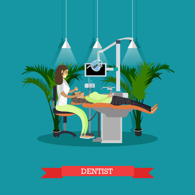 Dentist works with patient vector poster. Dental clinic concept vector illustration