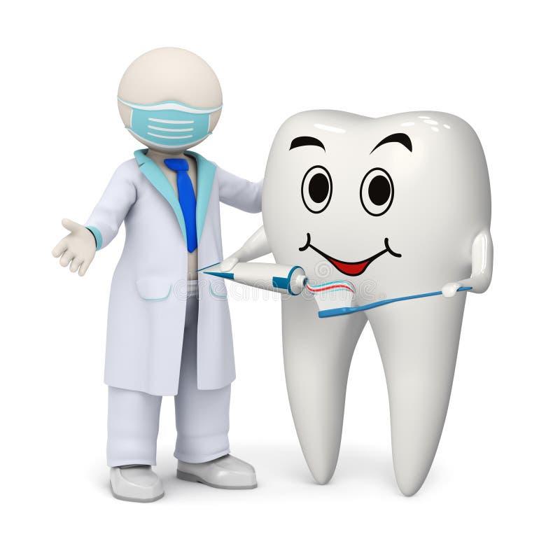 dentista 3d com um dente e uma escova de dentes de sorriso ilustração royalty free