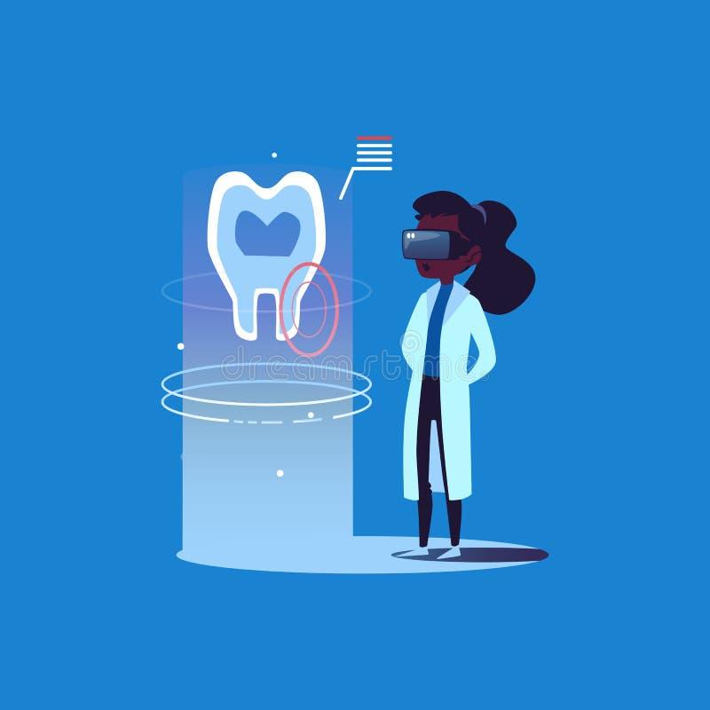 Dentista afroamericano del doctor de la mujer en los vidrios de la realidad virtual que miran un holograma de un diente ilustración del vector