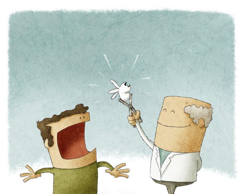 Dentista che estrae un dente illustrazione vettoriale