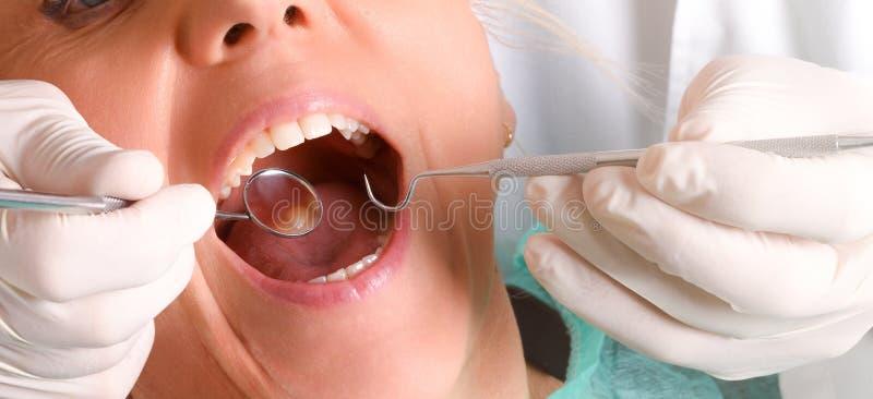 Dentista com as luvas brancas do látex que verifica um detalhe da mulher imagens de stock