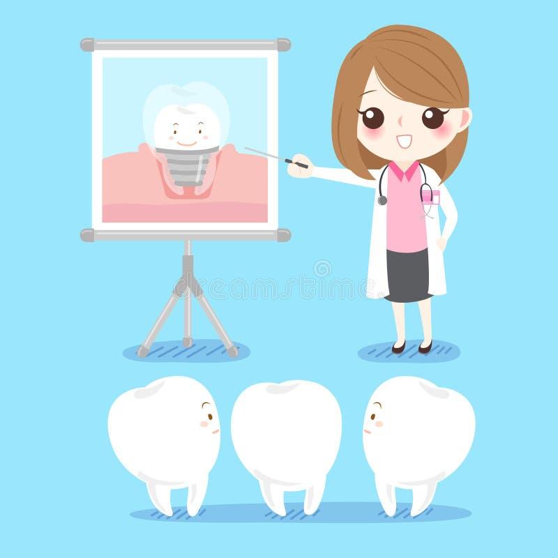 Dentista com dente ilustração royalty free