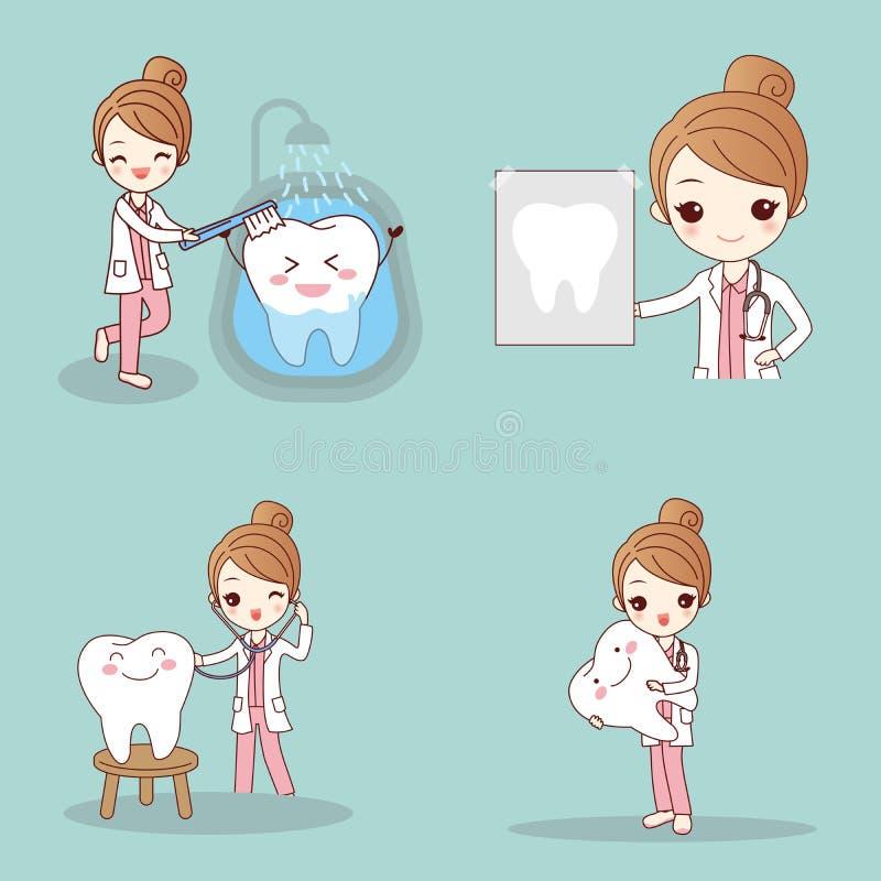 Dentista com dente ilustração stock