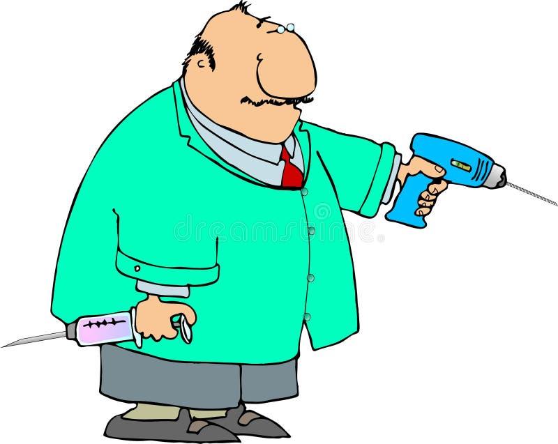 Dentista com uma grandes broca e seringa ilustração royalty free
