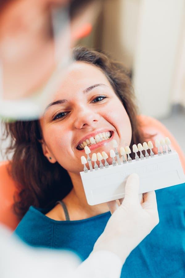 Dentista con el paciente femenino foto de archivo libre de regalías