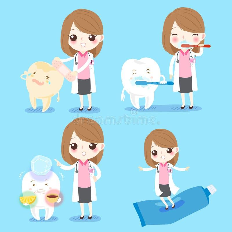Dentista con il dente sensibile illustrazione di stock
