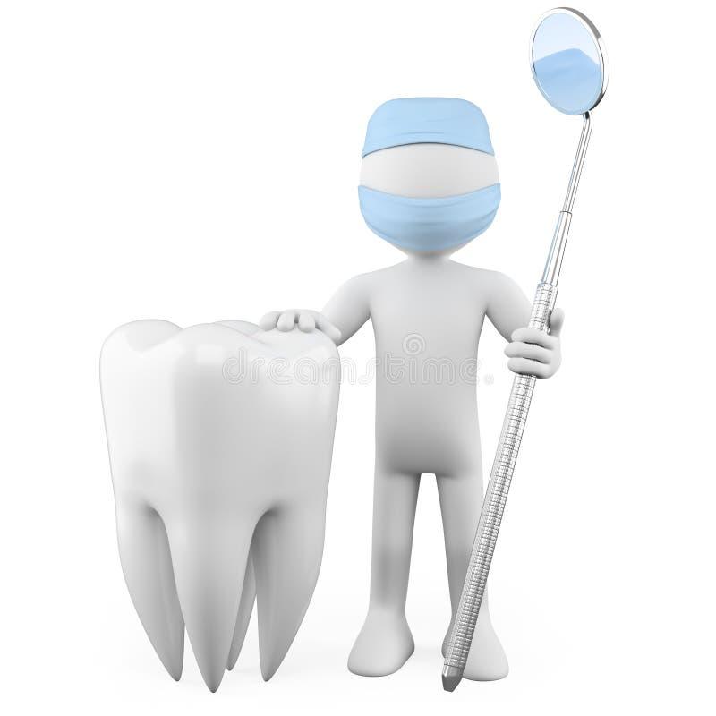 Dentista con un dente e uno specchio di bocca royalty illustrazione gratis