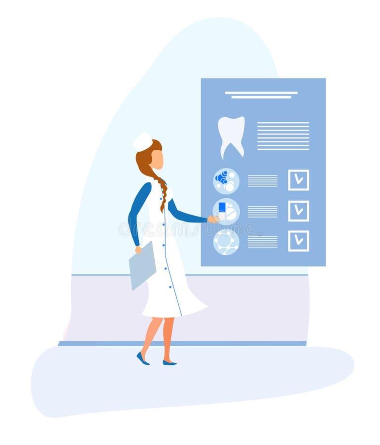 Dentista de sexo femenino y tarjeta médica electrónica dental stock de ilustración