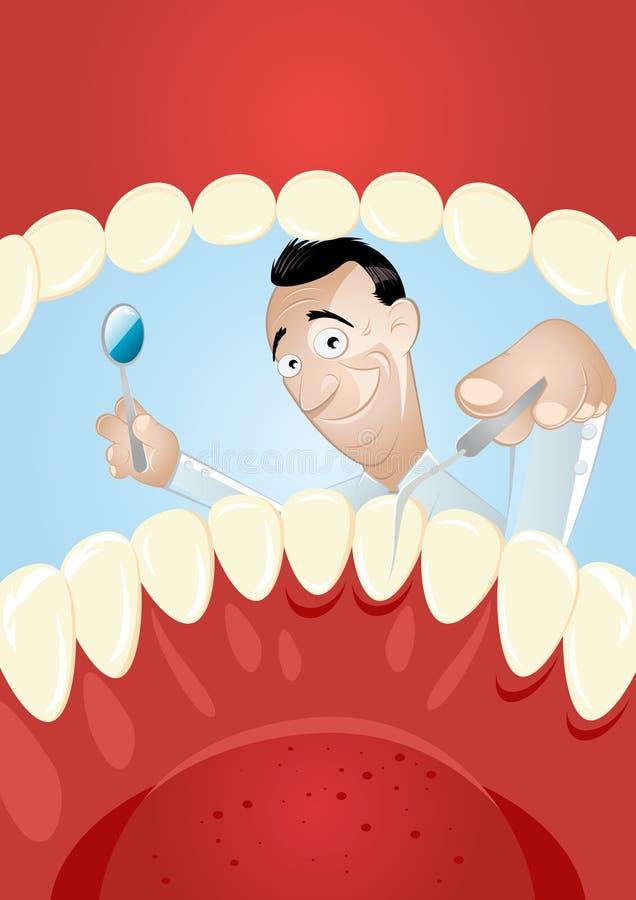 Dentista del fumetto all'interno della bocca illustrazione di stock