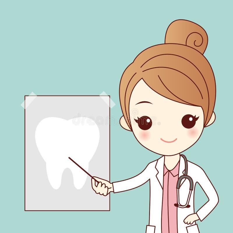 Dentista dos desenhos animados com raio do dente ilustração do vetor