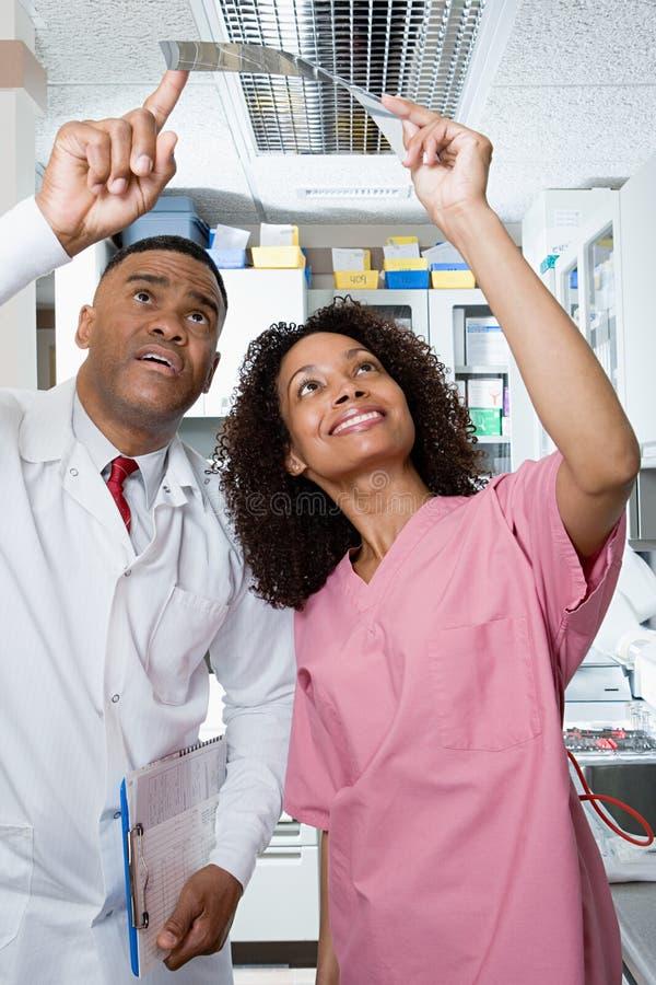 Dentista e enfermeira dental que olham o raio de x imagens de stock