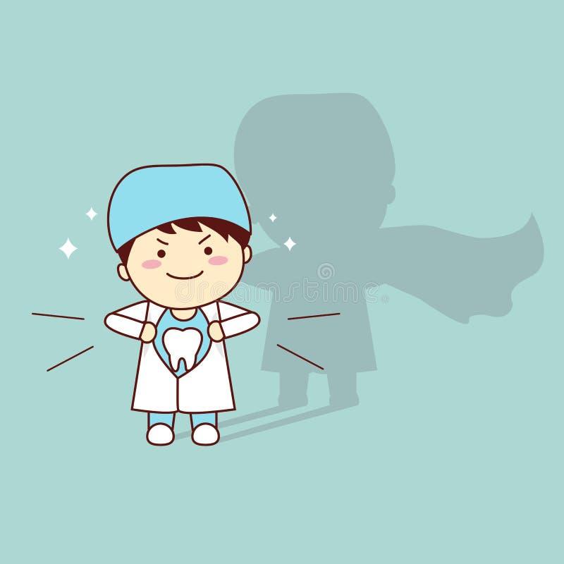 Dentista eccellente del dente del fumetto di salute illustrazione di stock