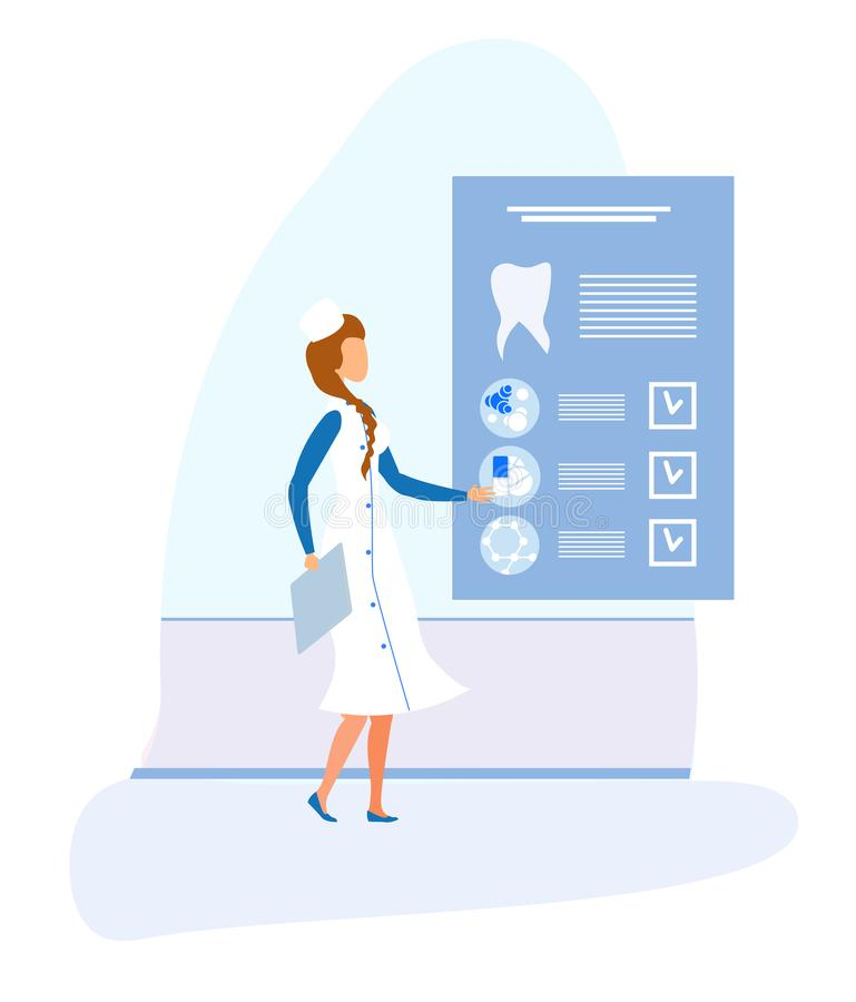 Dentista fêmea e cartão médico eletrônico dental ilustração stock