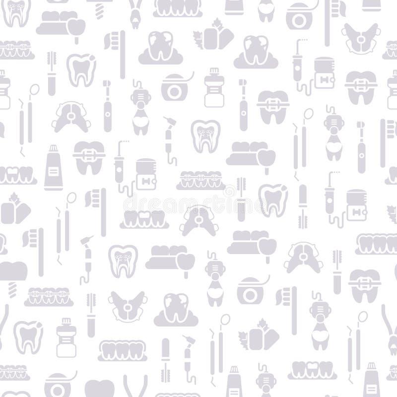 Dentista inconsútil Equipment Pattern, gris en blanco stock de ilustración