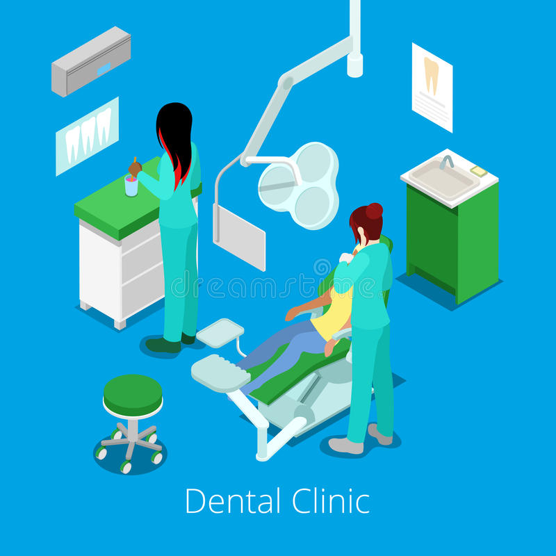Dentista isometrico Cabinet Interior con il paziente e medico royalty illustrazione gratis