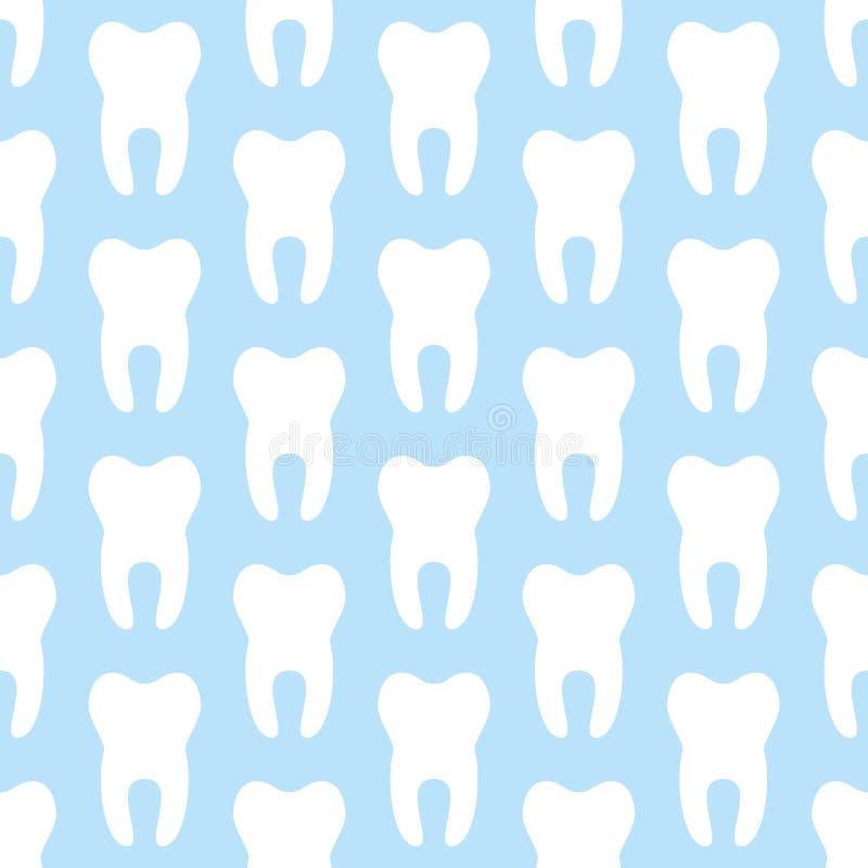 Dentista, modello senza cuciture bianco blu di ortodonzia con le icone del dente Trattamento dentale Sanità, medico sveglio illustrazione di stock