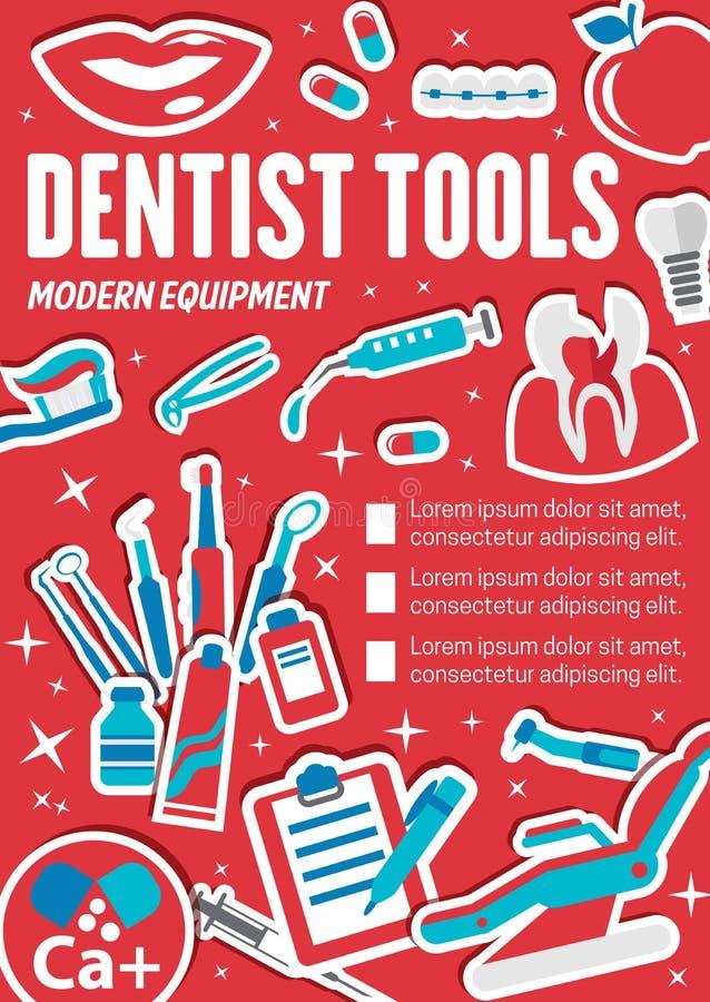 Dentista o bandera dental de la herramienta, clínica de la odontología libre illustration