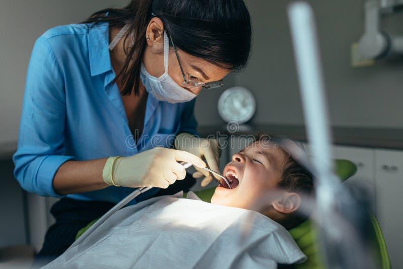 Dentista pediatrico che ispeziona i denti del paziente del ragazzo fotografia stock libera da diritti