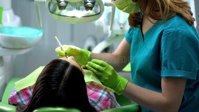 Dentista profissional que examina a cavidade oral paciente fêmea, serviços dentais imagem de stock