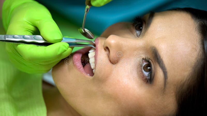 Dentista que remove a bola de algodão da boca paciente da mulher, isolamento da saliva imagem de stock