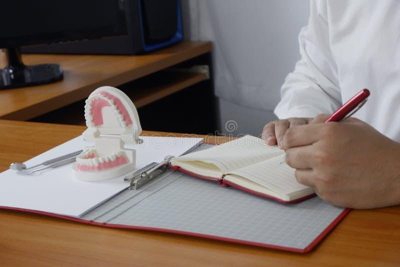 Dentista que se sienta en la tabla con el modelo del diente y las herramientas en concepto dental profesional de la clínica, dent imagenes de archivo