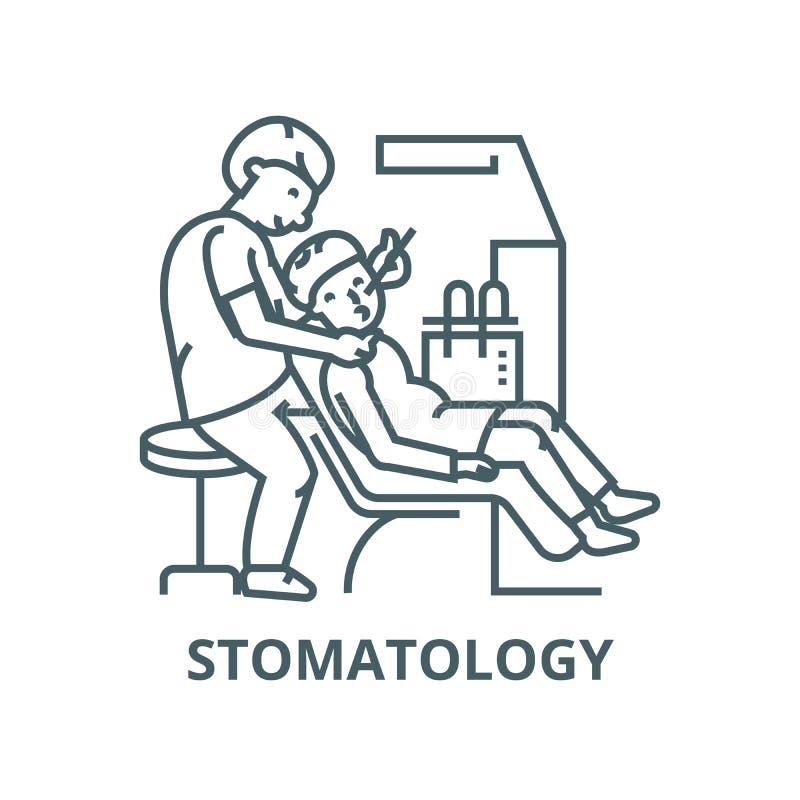 Dentista que trabaja con el paciente, línea icono, vector de la estomatología Dentista que trabaja con el paciente, muestra del stock de ilustración