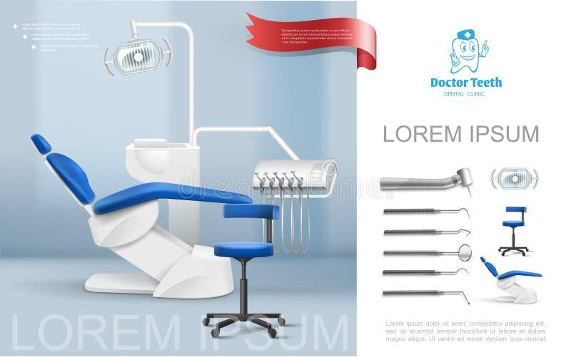 Dentista realista Workplace Composition libre illustration
