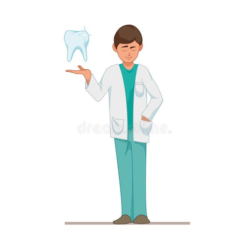 Dentista un doctor en el traje azul, diente Vector el ejemplo en estilo de la historieta aislado en el fondo blanco EPS10 ilustración del vector