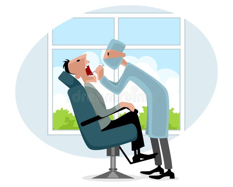 Dentista y paciente ilustración del vector