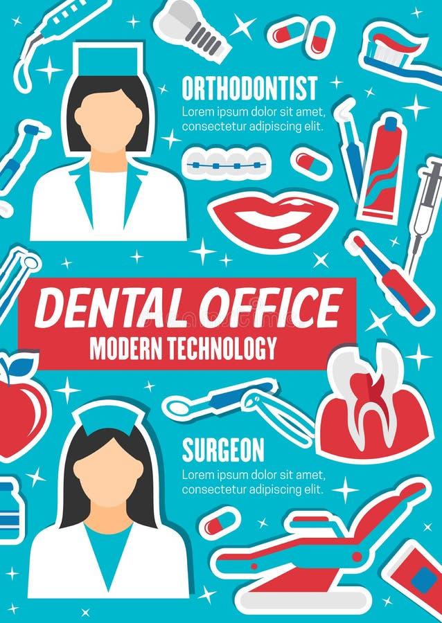 Dentistas orthodontist e cirurgião, clínica dental ilustração royalty free