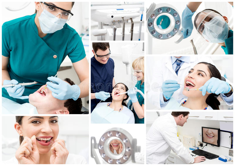 Dentiste au travail, collage images libres de droits