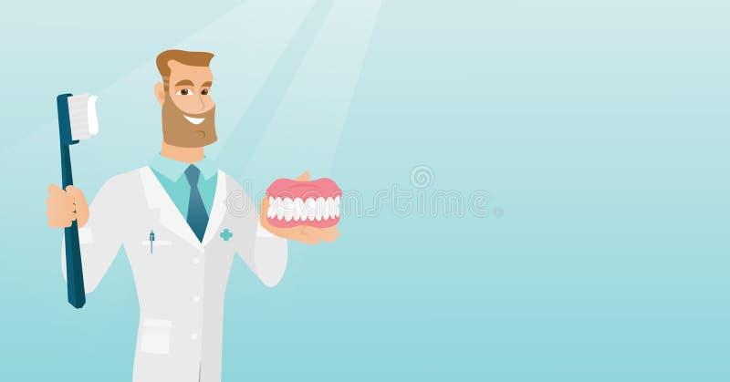 Dentiste avec un modèle dentaire de mâchoire et une brosse à dents illustration libre de droits