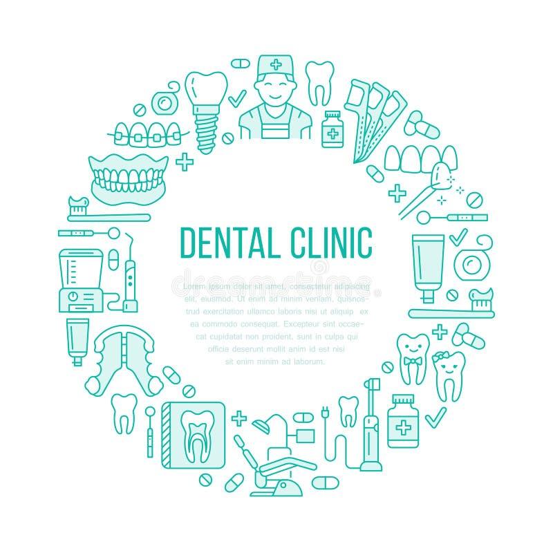Dentiste, bannière médicale d'orthodonties avec la ligne icône de vecteur de l'équipement de soins dentaires, accolades, prothèse illustration libre de droits