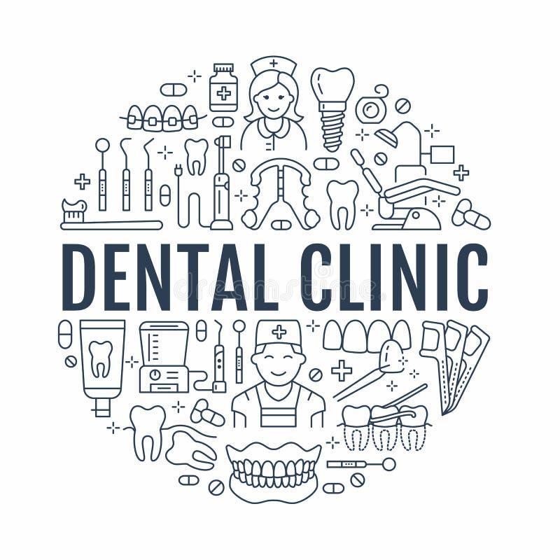 Dentiste, bannière médicale d'orthodonties avec la ligne icône de vecteur de l'équipement de soins dentaires, accolades, prothèse illustration stock