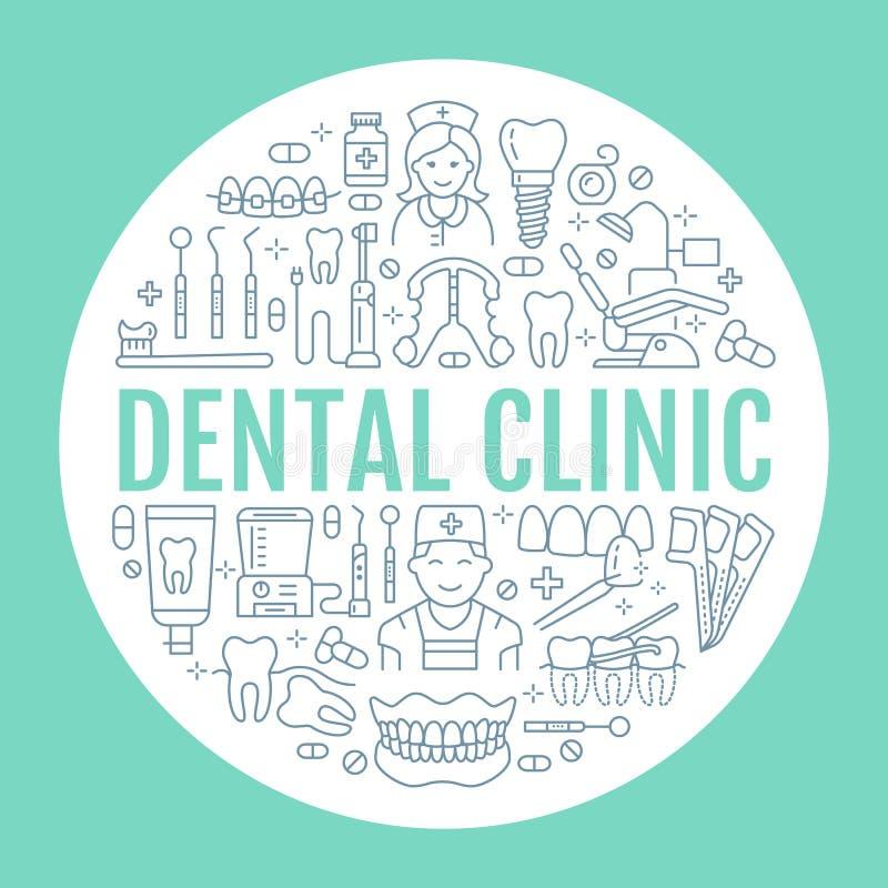Dentiste, bannière médicale d'orthodonties avec la ligne icône de vecteur de l'équipement de soins dentaires, accolades, prothèse illustration de vecteur