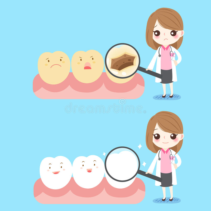 Dentiste de femme avec la dent illustration libre de droits