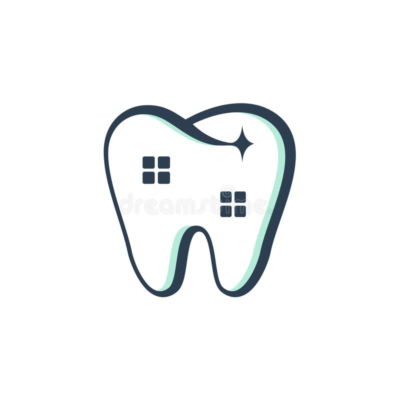 Dentiste dentaire propre House Clinic Unique Logo Symbol illustration de vecteur