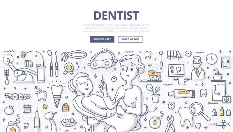 Dentiste Doodle Concept illustration stock