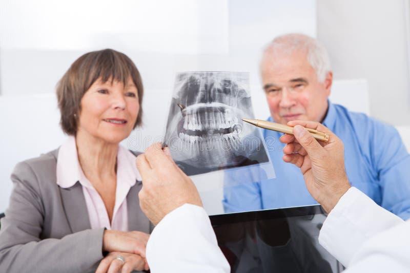 Dentiste expliquant le rayon X aux couples supérieurs photos stock