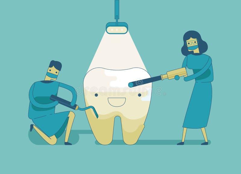 Dentiste faisant un traitement dentaire la dent illustration de vecteur