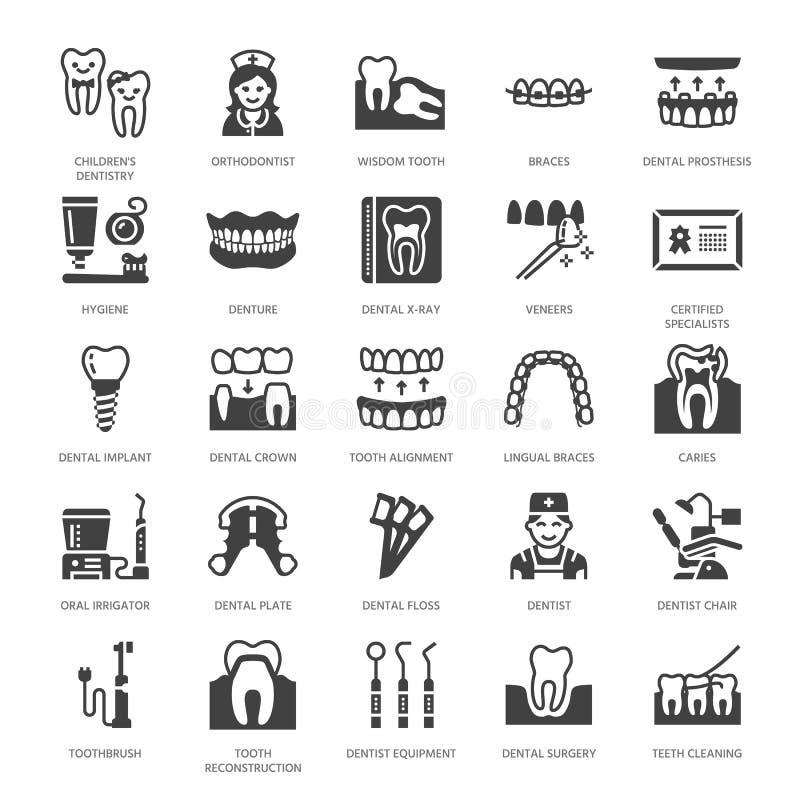 Dentiste, icônes plates de glyph d'orthodonties Équipement dentaire, accolades, prothèse de dent, placages, soie, traitement de c illustration stock